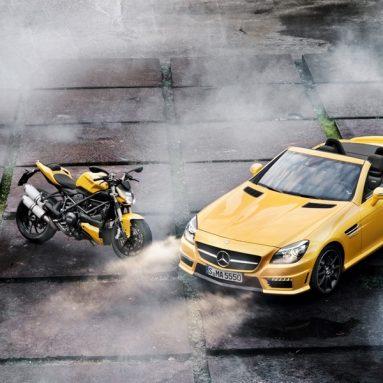 Sobredosis de poder: Ducati Streetfighter 848 y Mercedes-Benz SLK 55 AMG