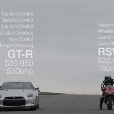 Cara a cara: Aprilia RSV4 Factory APRC SE vs Nissan GT-R