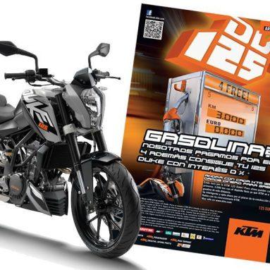 KTM te regala ¡¡3.000 kms de gasolina!! en la compra de tu KTM 125 Duke