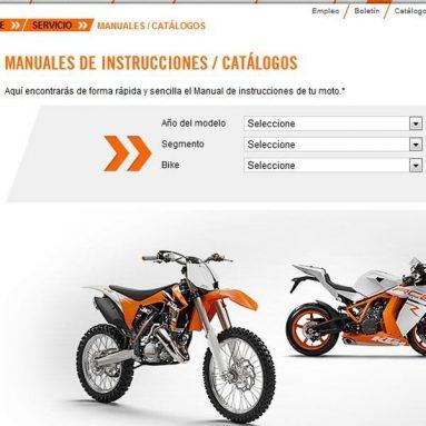 ¿Necesitas el manual de propietario o despiece de tu KTM? Descárgatelos desde la web de la marca